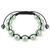 Bracelet shamballa 30 - Imitation perle vert pomme