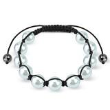 Bracelet shamballa 31 - Imitation perle blanc