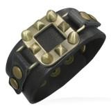 Bracelet de force 08 - Noir avec carré