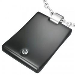 Pendentif plaque 01 - Noire avec strass