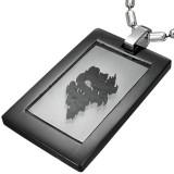 Pendentif plaque 10 - Noir dragon fond transparent