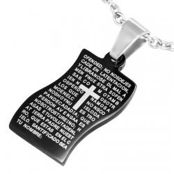 Pendentif plaque 11 - Noir latin avec croix