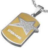 Pendentif plaque 12 - Love avec étoile