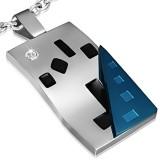 Pendentif plaque 28 - Noir, bleu et gris