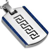 Pendentif plaque 31 - Ligne grecque bords bleus