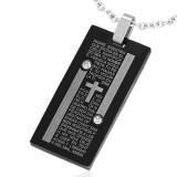 Pendentif plaque 36 - Noir croix et bandes