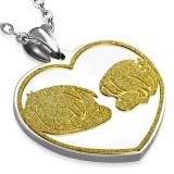 Pendentif plaque 38 - Coeur fille et garçon satin jaune