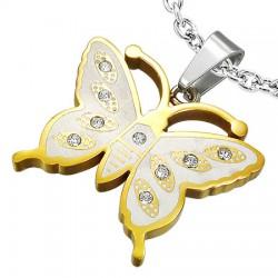 Pendentif animal 17 - Papillon avec zircones Gold-IP