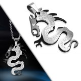 Pendentif animal 19 - Dragon noir et acier