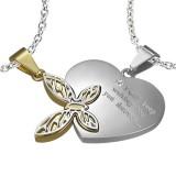 Pendentif pour couple 01 - Coeur et papillon jaune