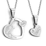 Pendentif pour couple 03 - Coeur et coeur