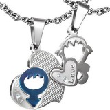 Pendentif pour couple 07 - Coeur et homme bleu