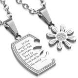 Pendentif pour couple 10 - Texte et fleur