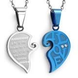 Pendentif pour couple 13 - Coeur gris et coeur bleu