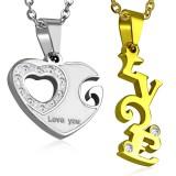 Pendentif pour couple 15 - Coeur et LOVE jaune