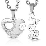 Pendentif pour couple 16 - Coeur et LOVE gris