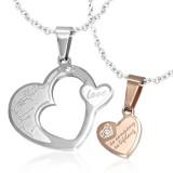 Pendentif pour couple 17 - Coeur et coeur rose