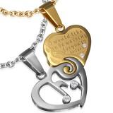 Pendentif pour couple 18 - Coeur et coeur jaune