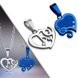 Pendentif pour couple 22 - Coeur gris et coeur bleu