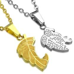 Pendentif pour couple 27 - Feuille grise et jaune