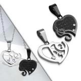 Pendentif pour couple 29 - Coeur gris et coeur noir