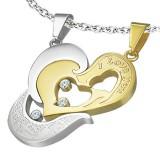 Pendentif pour couple 34 - Coeur gris et coeur jaune