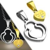 Pendentif pour couple 35 - Coeur jaune dans coeur gris