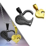 Pendentif pour couple 36 - Coeur noir et coeur jaune