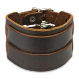 Bracelet de force 87 - Marron avec deux bandes