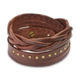 Bracelet de force 84 - Brun avec une bande cloutée