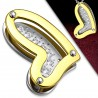 Pendentif coeur jaune avec strass (02)