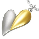 Pendentif coeur gris et jaune (09)