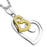 Pendentif deux coeurs avec strass (10)