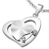 Pendentif coeurs gris deux zircones (16)