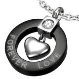 Pendentif coeur forever love noir (24)
