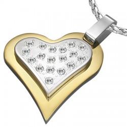 Pendentif coeur gris strass sur coeur jaune (25)