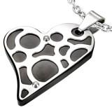 Pendentif coeur noir motifs gris (26)
