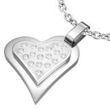 Pendentif coeur gris strass sur coeur (27)