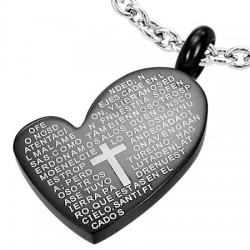Pendentif coeur noir écritures en latin (30)