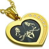 Pendentif coeur noir et jaune fleurs (31)