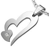 Pendentif coeur et petit coeur strass (35)