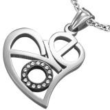 Pendentif coeur petit cercle noir strass (34)