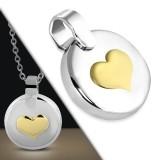 Pendentif coeur jaune sur cercle (42)