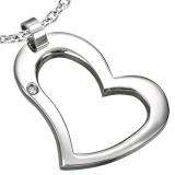 Pendentif coeur creux avec strass (45)