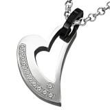 Pendentif coeur strass attache noire (47)