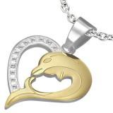 Pendentif coeur avec dauphin jaune (49)