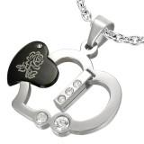 Pendentif coeur noir avec rose (51)