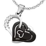 Pendentif coeur gris strass et coeur noir (55)