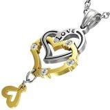 Pendentif coeurs jaunes et gris chainette (58)