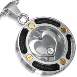 Pendentif coeur avec cables noirs (64)